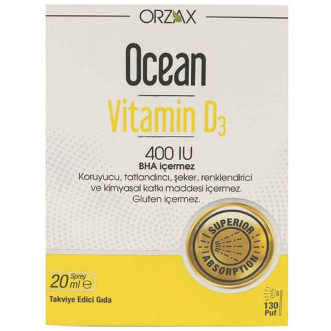 Orzax Ocean Vitamin D3 400 Iu Takviye Edici Gida Sprey 20ml