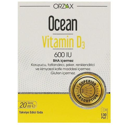 Orzax Ocean Vitamin D3 600 Iu Takviye Edici Gida Sprey 20ml